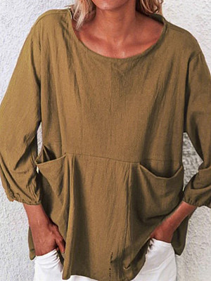 Round Neck Plain Pockets Long Sleeve Linen T-shirt, 25162756