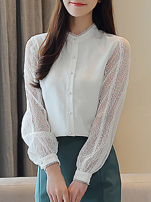 Band Collar Patchwork Lace Long Sleeve Blouse, 11216037
