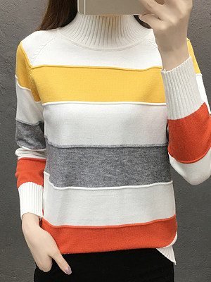 Short High Collar Elegant Striped Long Sleeve Knit Pullover