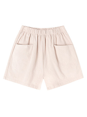 Cotton And Linen High-waisted A-line Wide-leg Loose Casual Shorts