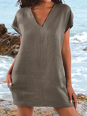 Loose Casual Cotton And Linen V-Neck Short-Sleeved Dress