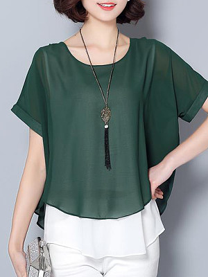 Round Neck Fake Two-piece Buttons Short Sleeve Blouse, 11409984