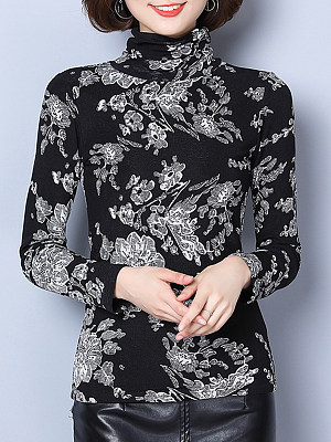 Heap Collar Patchwork Elegant Long Sleeve T-Shirt, 10127581