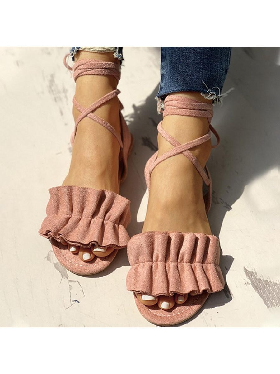 BerryLook Women's  open-toe ruffled sandals with flat straps