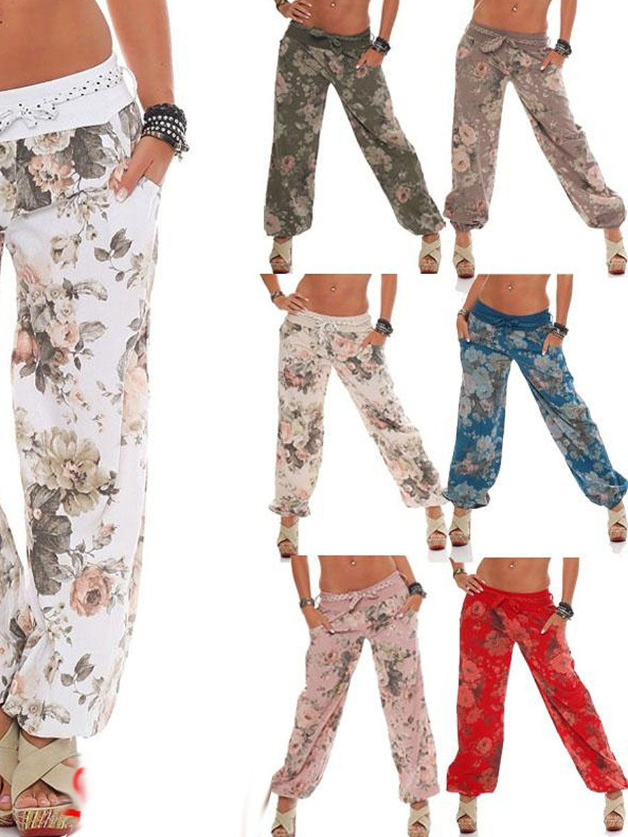 Baggy oversized mid-waist printed wide-leg pants