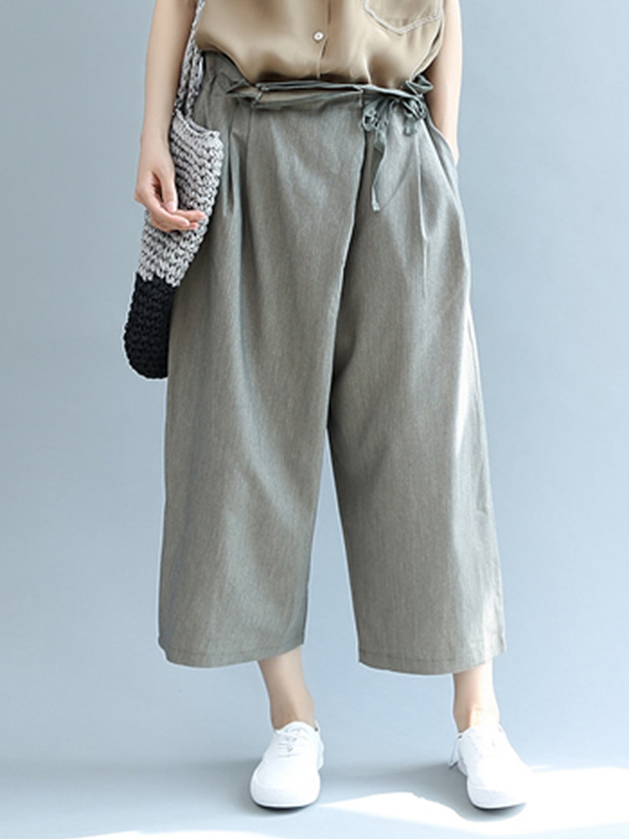 BerryLook Literature and art simple lace wide leg pants casual pants