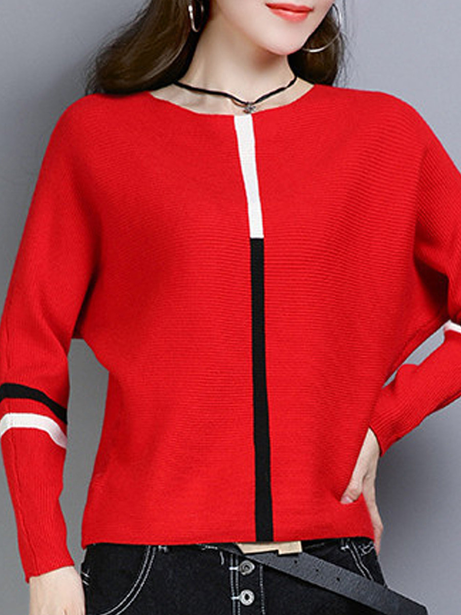 Round Neck Coloirng Batwing Sleeve Pullover Sweater - from $18.95