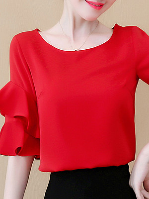 Round Neck Plain Short Sleeve Blouse, 11292635