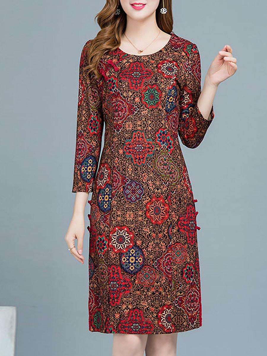 BerryLook Long Sleeve Plus Size Print Shift Dress