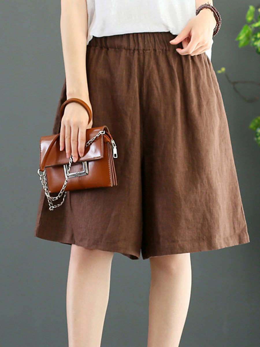BerryLook Fashionable loose multicolor cotton and linen wide-leg pants