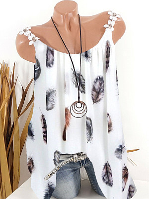 Round Neck Feather Printed Sleeveless T-Shirt, 11297649