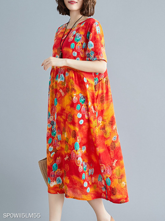 Round Neck Patch Pocket Floral Printed Maxi Dress