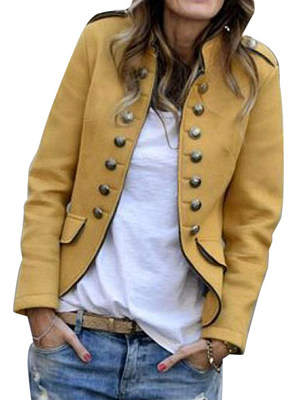 Berrylook coupon: Fashion solid color slim casual double-breasted jacket