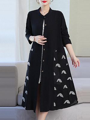 Stylish long print coat