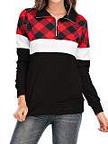 Image of Band Collar Zip-up Plaid Patchwork Long Sleeve Hoodie