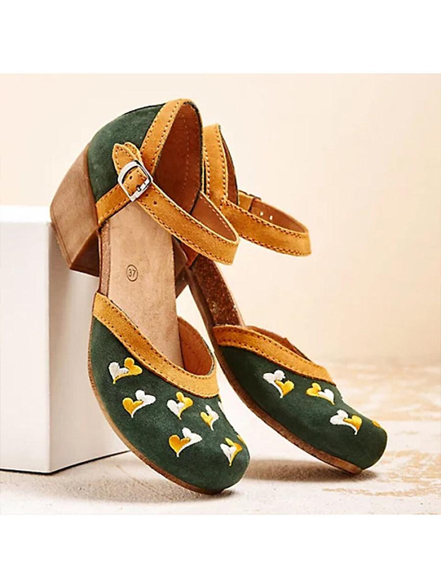 BerryLook Women's buckle non-slip mid-heel sandals