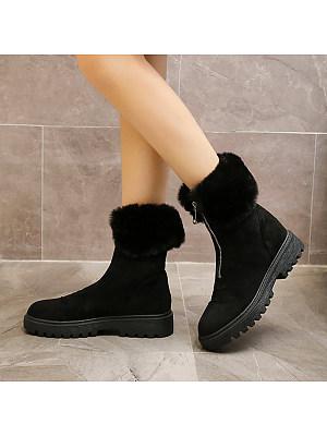 Fashion plus velvet cuffed zipper snow boots, 9899763