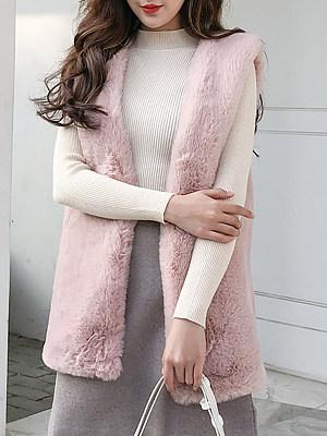 Fashion ladies pure color faux fur mid-length waist coat