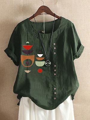 Round Neck Buttons Print Short Sleeve Linen T-shirt, 23700177