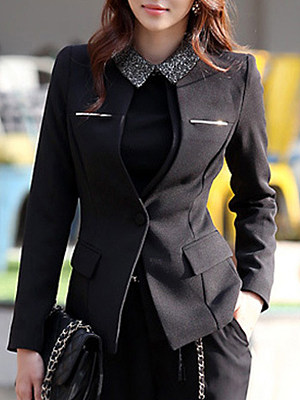 Fashion womens long sleeve doll collar pure color blazer gender:female, colour:black, season:autumn,spring, texture:polyester, pattern_type:splice, sleeve_length:long sleeve, sleeve_type:regular sleeve, style:japan and south korea, collar_type:doll collar, dress_occasion:daily, bust:102,clothing length:56,shoulder width:39,sleeve length:62,