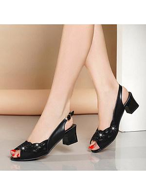 Fashion ladies rhinestone mesh peep-toe mid-heel sandals