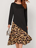 Round Neck Long Sleeve Stitching Leopard Print Dress