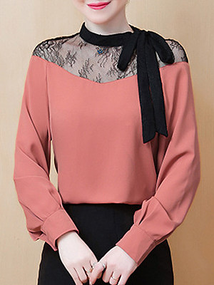 Round Neck Patchwork Lace Long Sleeve Blouse, 11292730