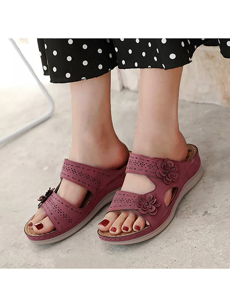 Women's hollow perforated flower sandals