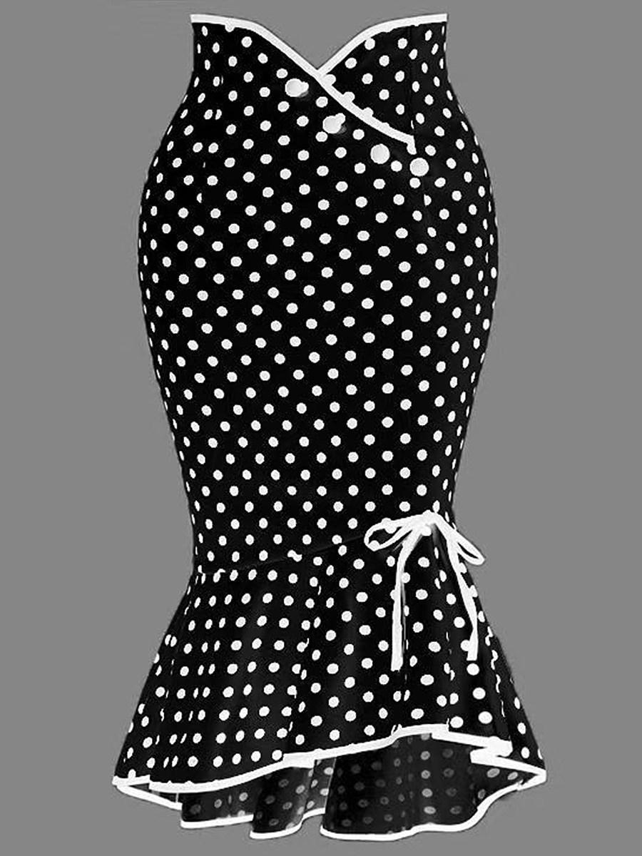 Button lace polka dot skirt slim fishtail skirt