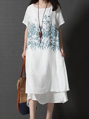 Round neck printed double layer slim dress