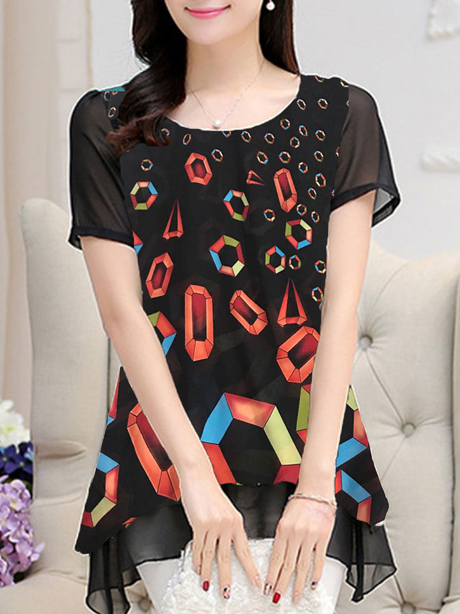 BerryLook Round Neck Printed Short-Sleeved Blouse