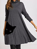 Image of Casual Animal Tunic High Neckline A-line Dress