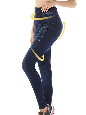 Fashionable high-stretch imitation denim printed leggings фото