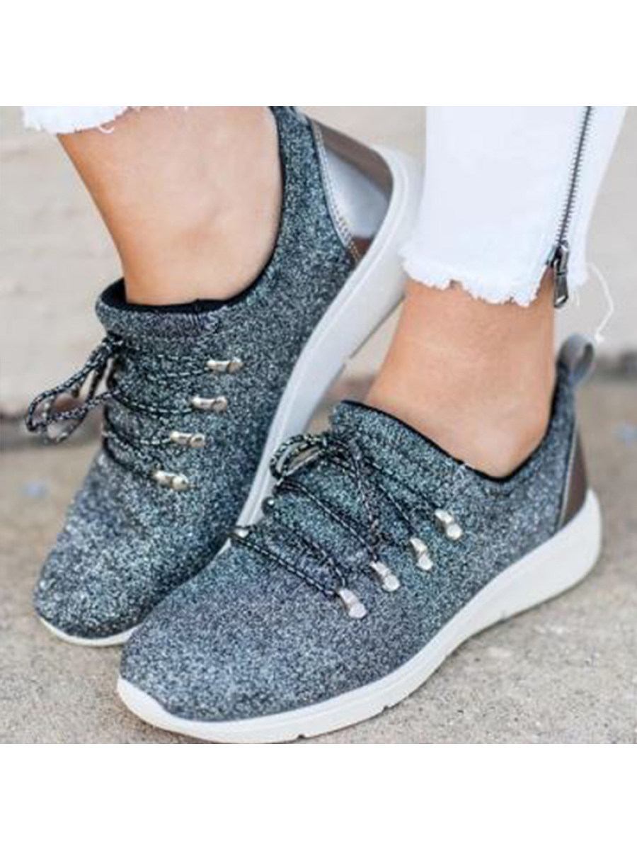 BerryLook Casual and comfortable sequin lace-up sneakers