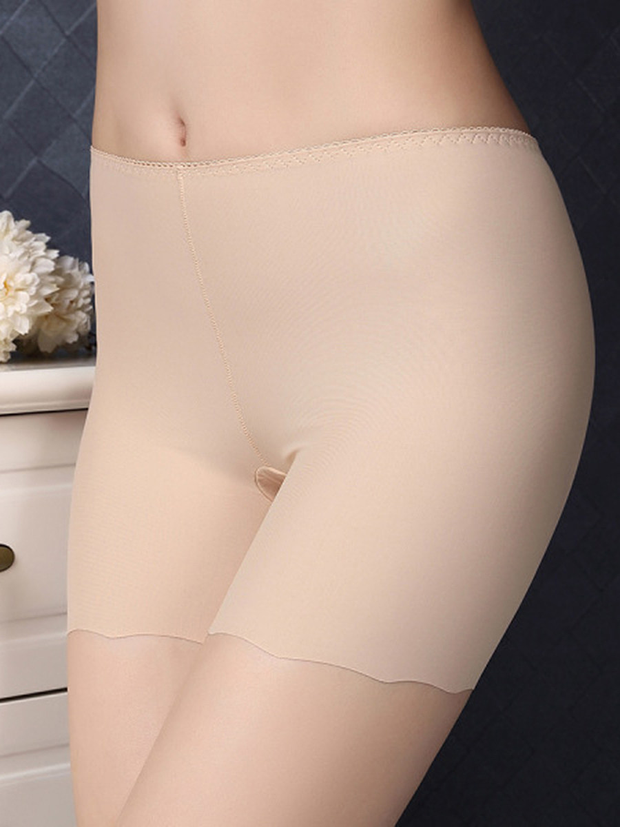 Women's High Waist Panties Leggings Anti-glare Ice Silk Seamless One Piece Women's Safety Pants