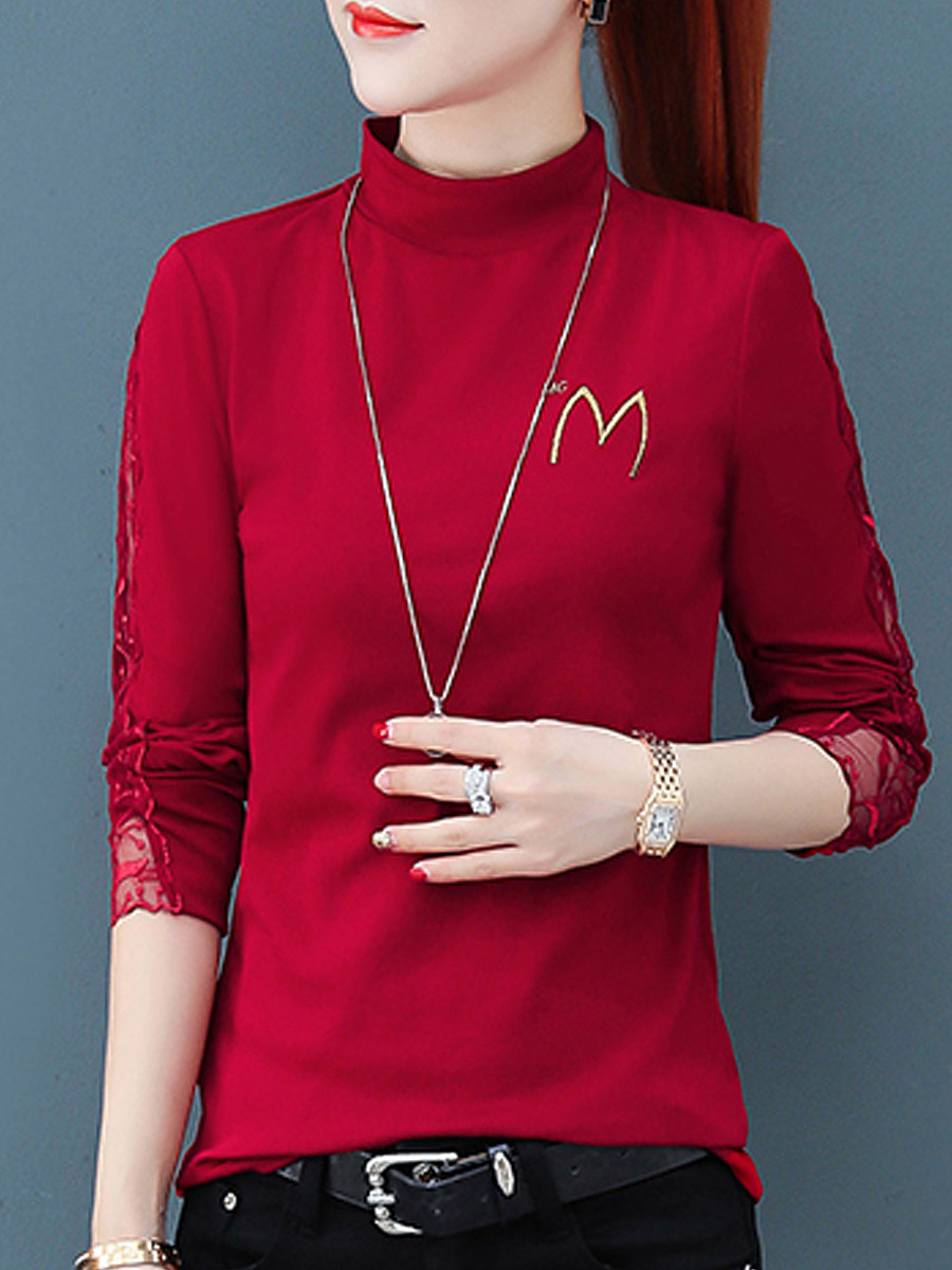 Short High Collar  Lace Patchwork Long Sleeve T-Shirt - from $16.95