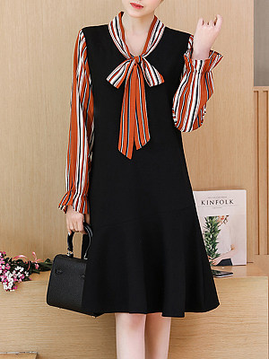 Casual Stripe Tie Fake Two Long Sleeve Dresses, 10655178