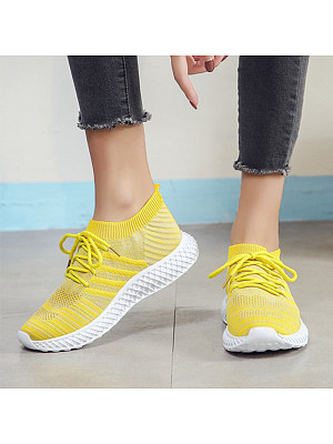 Women's Casual Solid Color Breathable Sneakers, 10996628
