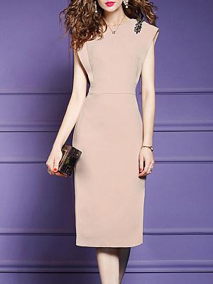 Round Neck Plain Bodycon Dress, 11331564
