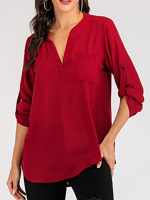 V Neck Plain Loose Fitting Long Sleeve Blouse, 11445666