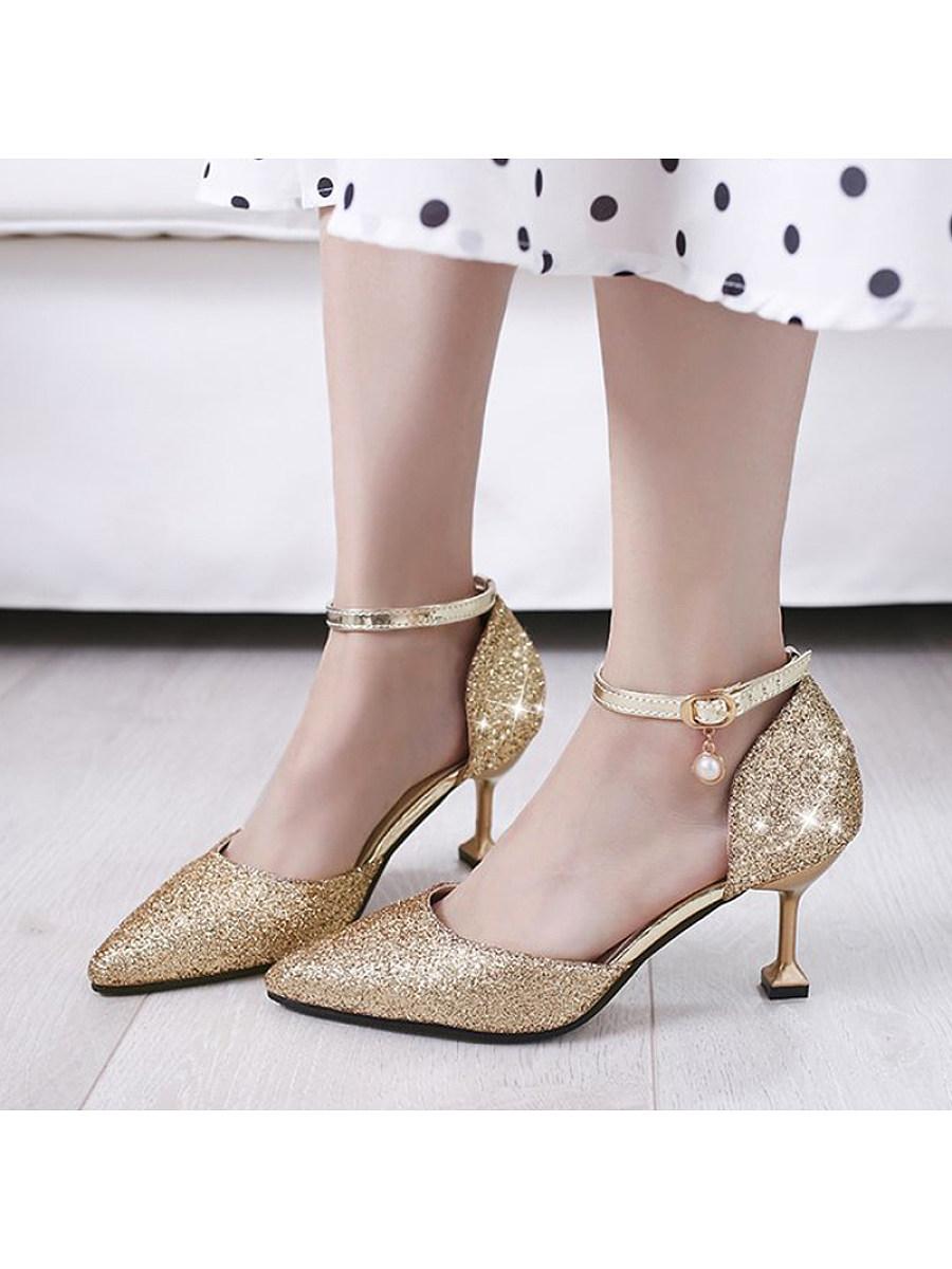 BerryLook Cat with flat buckle sexy sandals sequins wild silver stiletto heels