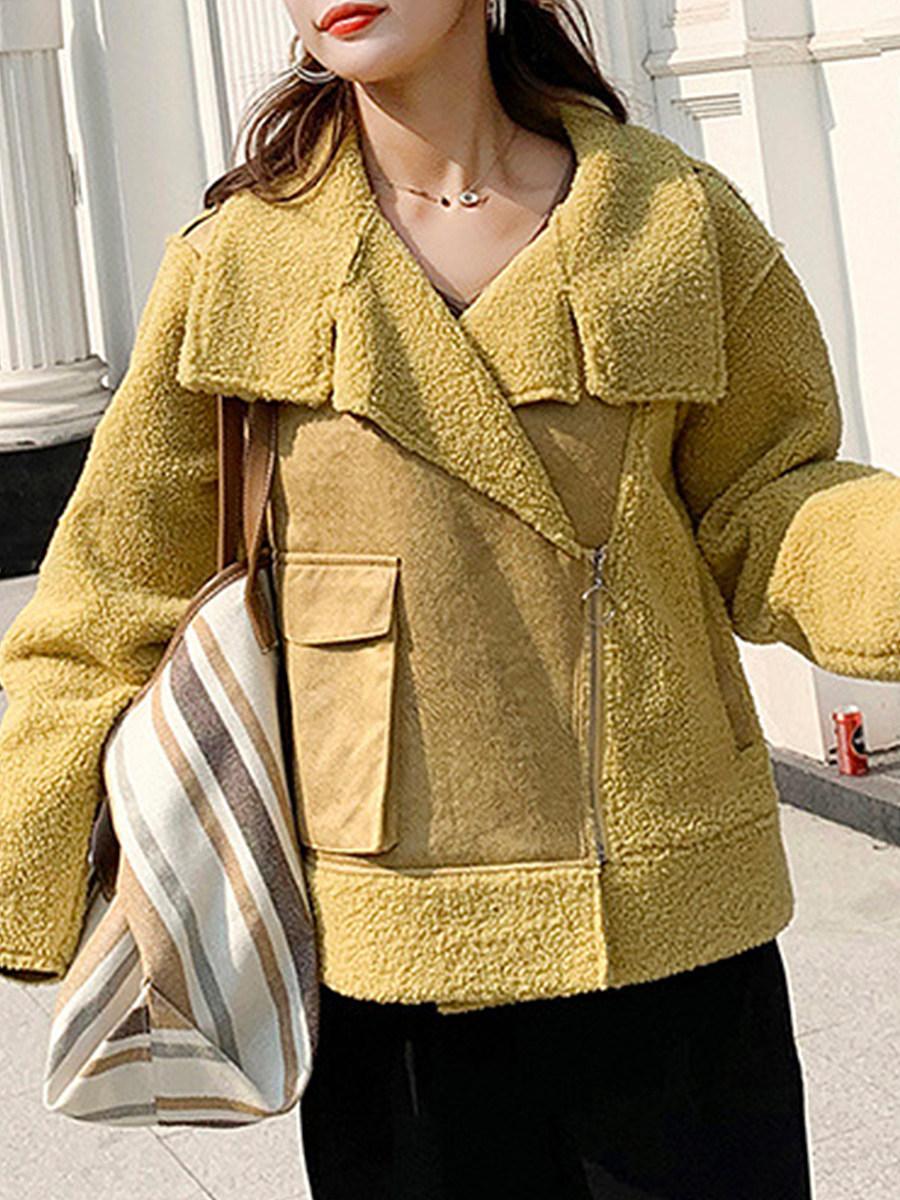 Fashion Lapel Lamb Plush Double Layer Composite Short Coat - from $32.95