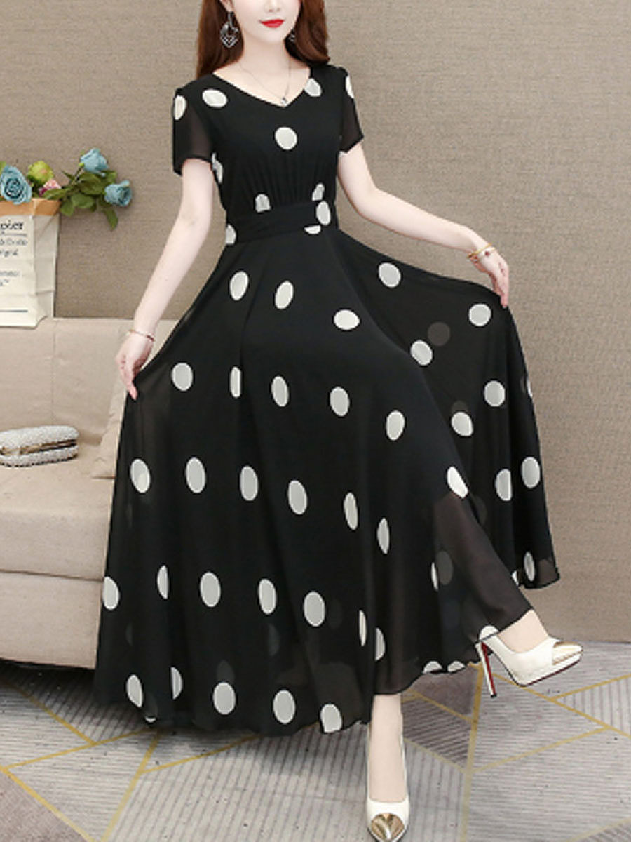 Korean Version Of Polka Dot Maxi Dress