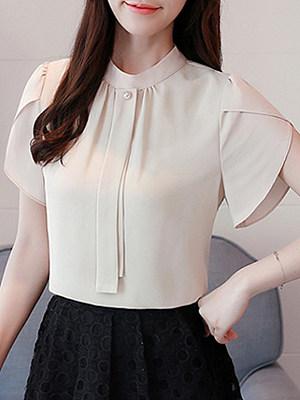 Band Collar Plain Short Sleeve Blouse, 11296991