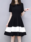 Image of Round Neck Color Block Skater Dress