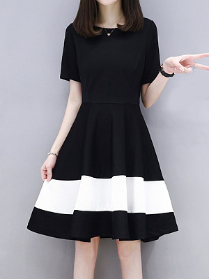 Round Neck Color Block Skater Dress фото