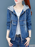 Image of Loose cropped hooded embroidered denim jacket