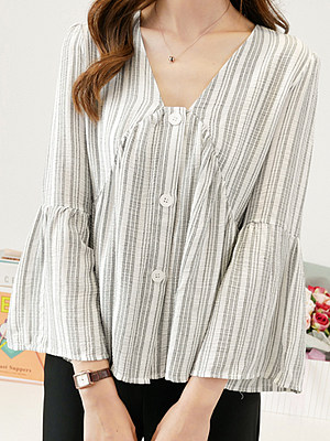 V Neck Striped Long Sleeve Blouse, 11299387