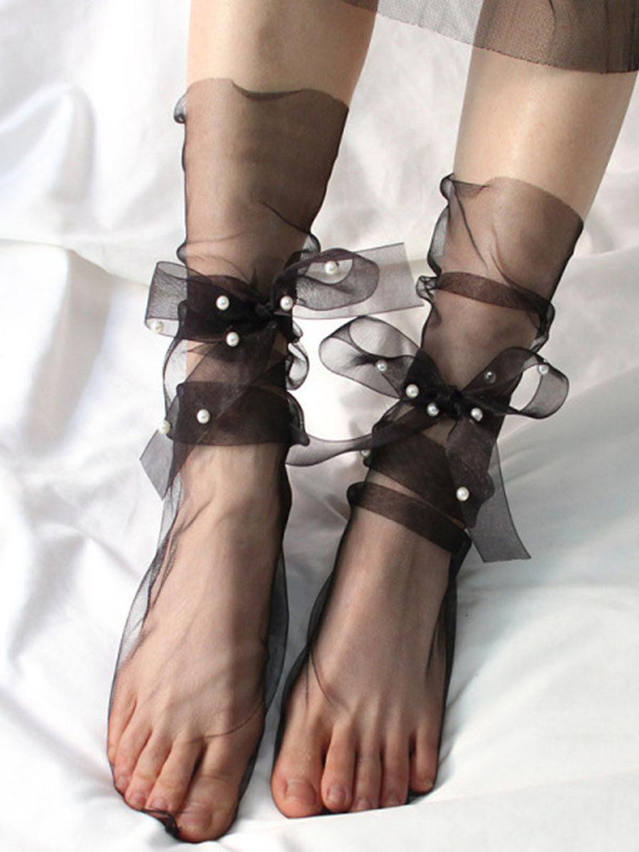 Pearl yarn ribbon bow net yarn pile pile socks