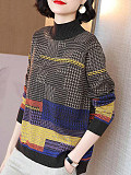 Image of Half High Collar Color Block Long Sleeve Knit Pullover